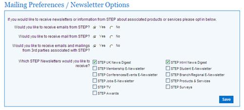 Mailing preferences